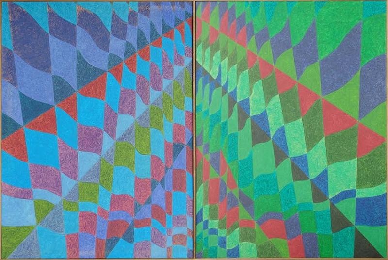 Dueto Ondulatório verde e azul ( composto por duas telas de 160 x 105 cm)
