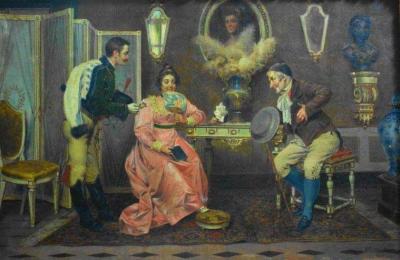 Interior com cena romântica