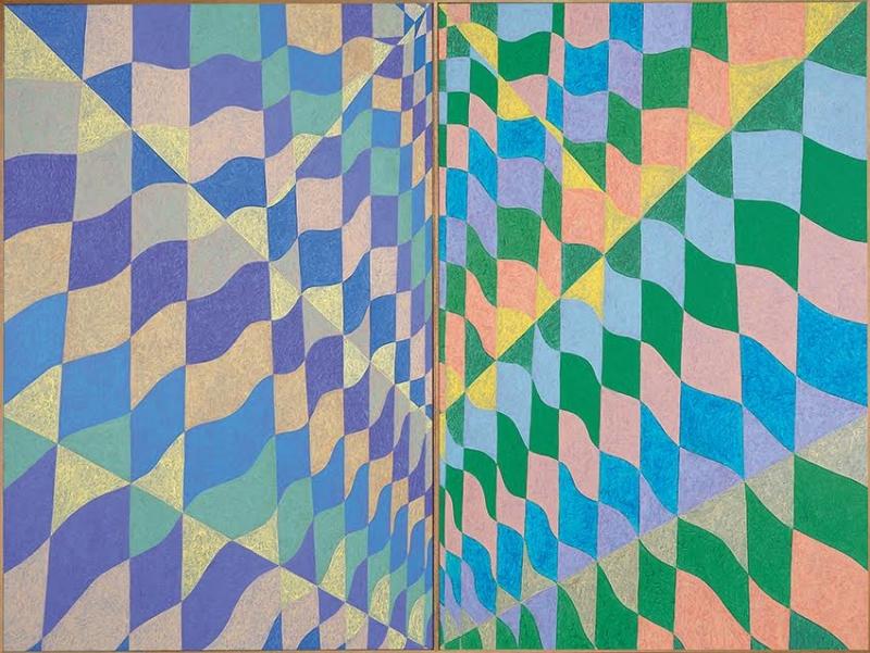 Dueto Ondulatório verde e roxo ( composto por duas telas de 160x 105cm )