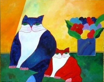 Dois Gatos e Flores