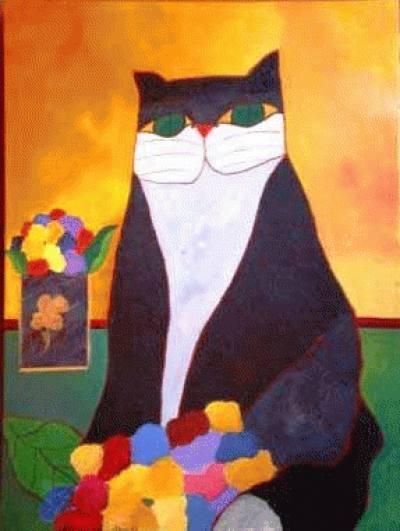 Gato Preto com flores